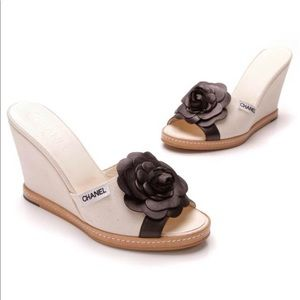 Authentic Chanel Camellia Wedges